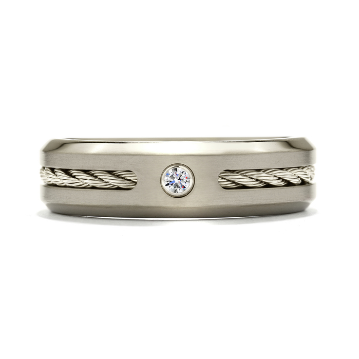0.05 ctw. Commanding Grey Titanium Band with Cable Band in Titanium/Silver