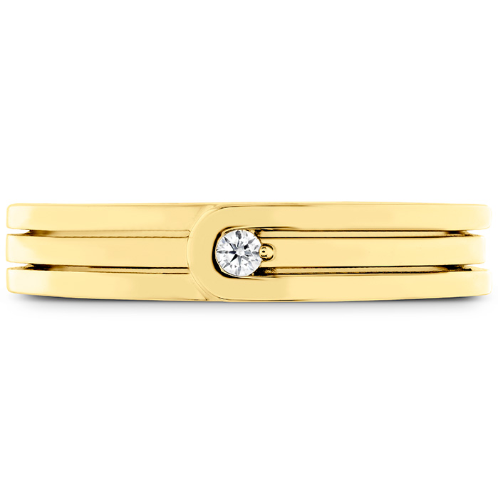 0.03 ctw. Coupled Encompass Triple Row Band 4mm in 18K Yellow Gold