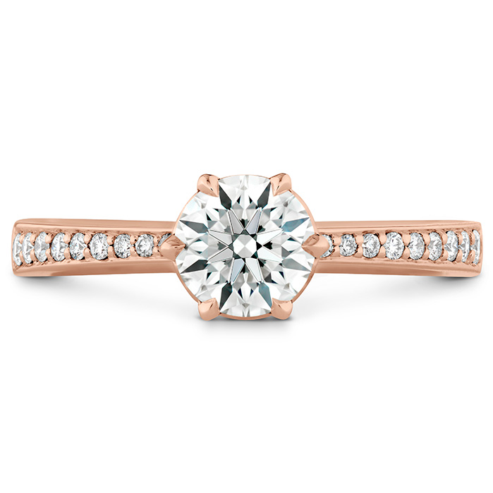 0.1 ctw. HOF Signature 6 Prong Engagement Ring - Diamond Band in 18K Rose Gold