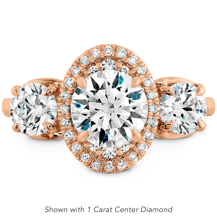 1.31 ctw. Juliette 3 Stone Oval Halo Engagement Ring in 18K Rose Gold