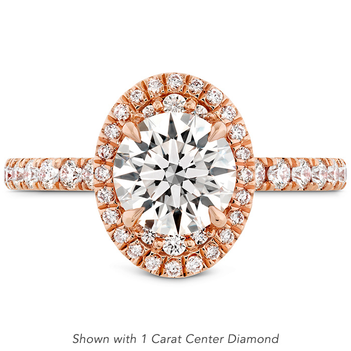 0.51 ctw. Juliette Oval Halo Diamond Engagement Ring in 18K Rose Gold