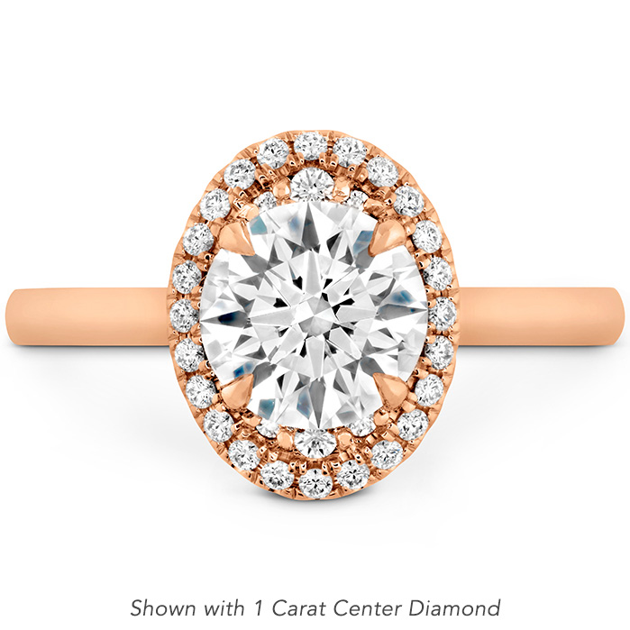0.14 ctw. Juliette Oval Halo Engagement Ring in 18K Rose Gold