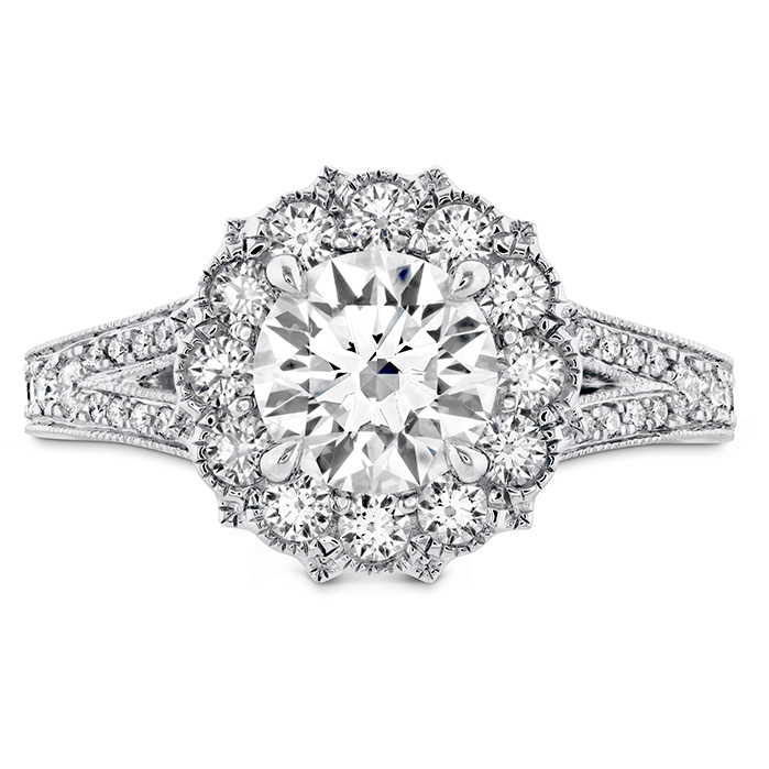 0.45 ctw. Liliana Halo Engagement Ring - Dia Band in 18K White Gold