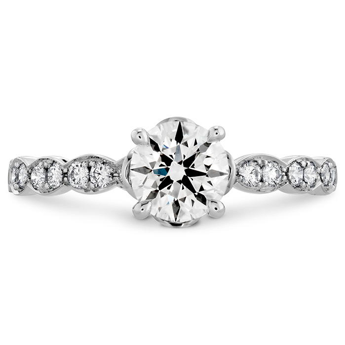 0.15 ctw. Lorelei Floral Engagement Ring-Diamond Band in 18K White Gold